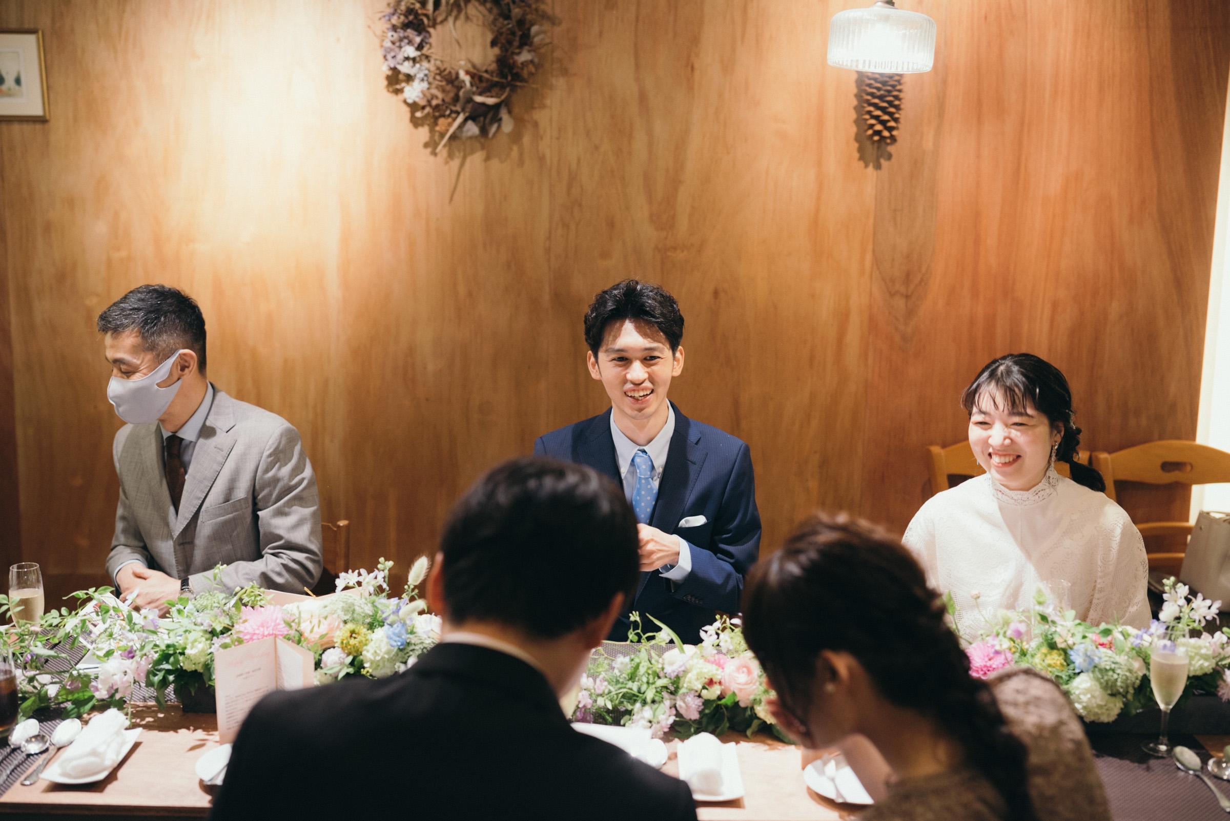 レストランで少人数家族婚